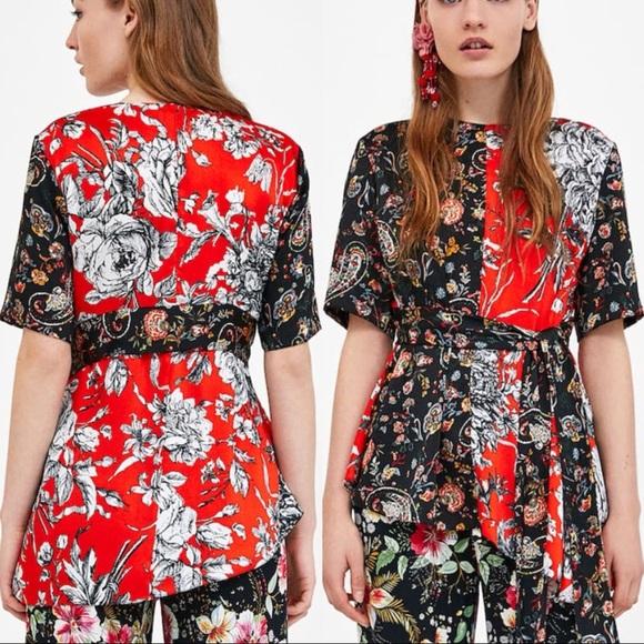 164fe9cfe Zara Tops | Floral Print Patchwork Top | Poshmark